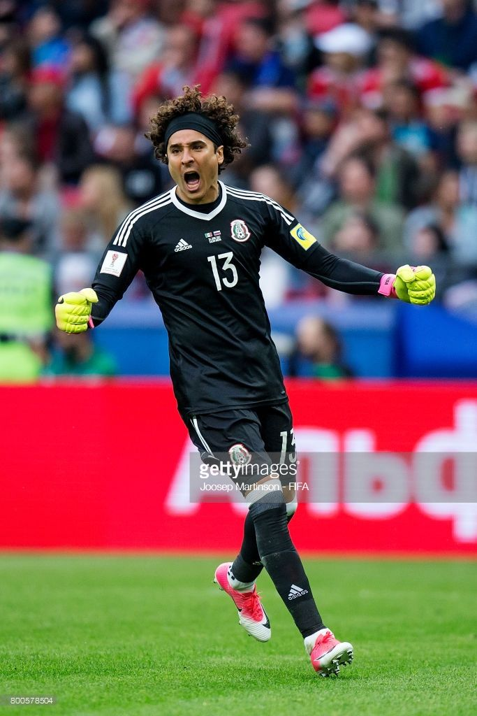 55123f5f27a Guillermo Ochoa of Mexico reacts during the FIFA Confederations Cup Russia  2017 group A football match between Mexico and Russia at Kazan Arena on  June 24, ...