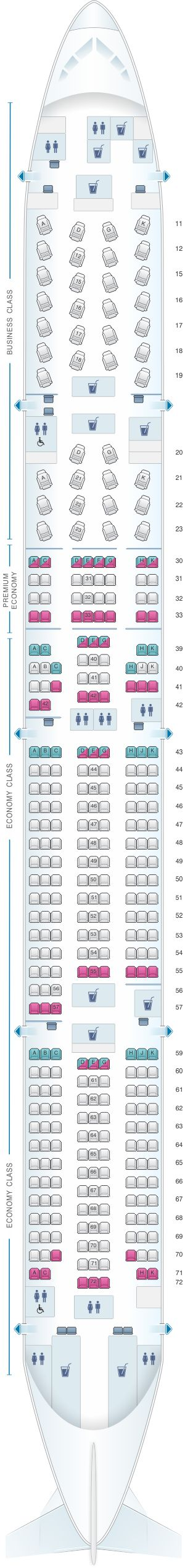 Seat Map Cathay Pacific Airways Boeing B777 300ER (77G)