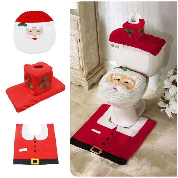 Santa Claus Toilet Seat Cover And Rug Set Christmas Bathroom Decoration Xmas Kit
