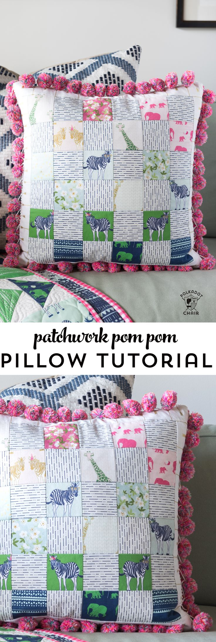 Free sewing pattern for a pom pom patchwork pillow. Uses a fun cheater way to & 25+ unique Patchwork pillow ideas on Pinterest   Quilt pillow ... pillowsntoast.com