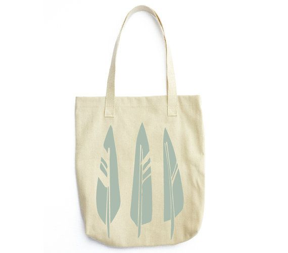 Blue Feathers Denim Cotton Tote screenprinted by RiverOakStudio, $20.00
