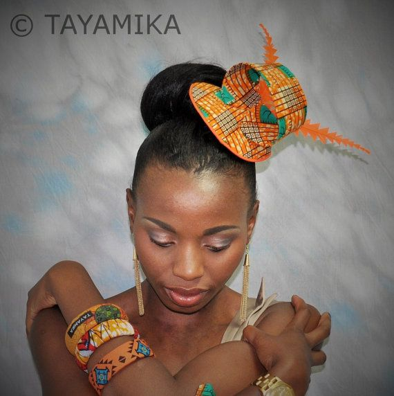 African Fabric Orange Fascinator Headpiece Hair by Tayamika