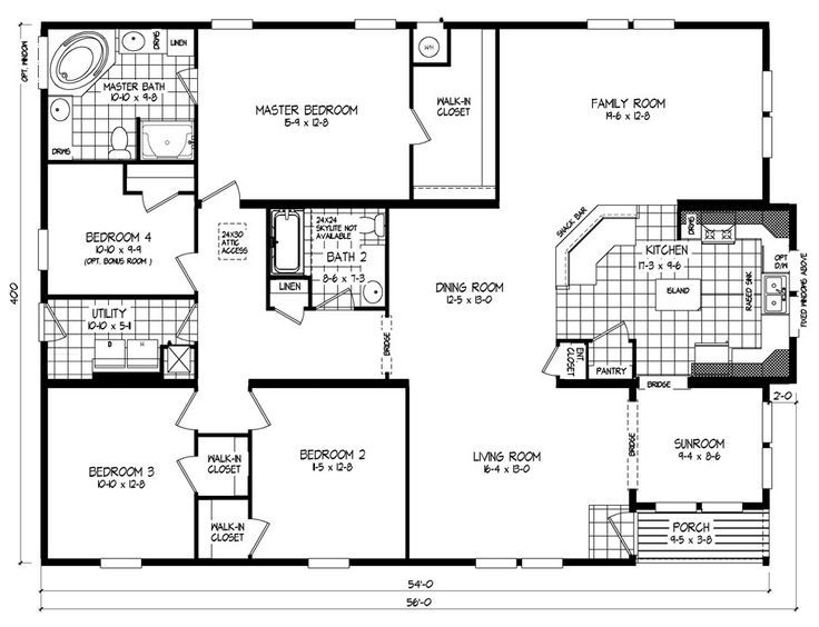 triple wide mobile home floor plans russell clayton homes - Clayton Homes Floor Plans 3 Bedrooms 28 Quot Width 44length