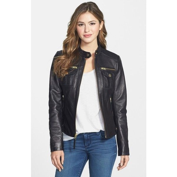 Women's MICHAEL Michael Kors Patch Pocket Leather Jacket