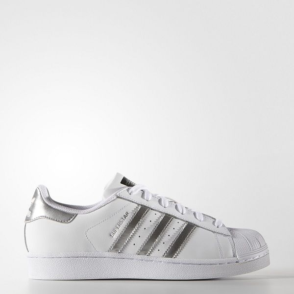 info pour 3ae07 de7b2 Adidas Femme Originals Superstar Blanc Argent Métallique ...