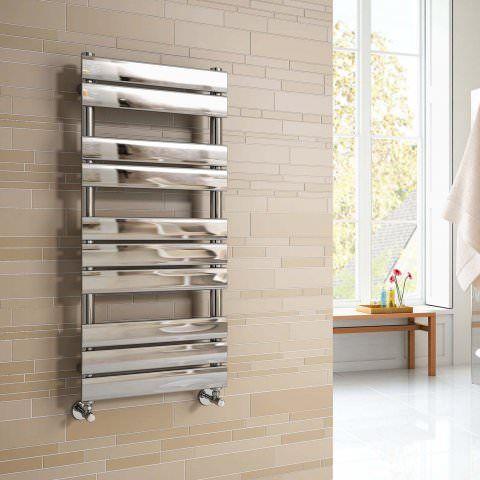 Francis Ladder Rail Designer Towel Radiator in Chrome 1000mm x 450mm - soak.com