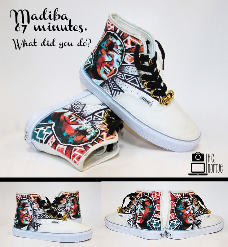 Madiba Custom Tomy Takkies. Done with , Spray paint, and Fine Liner