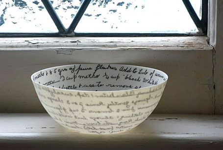 Recipe Bowl by Brisbane-based ceramicist Mel Robson. Part of Mels 'Precious Little' collection. Plaster mould made from wheel-thrown originals, then delicate translucent pieces made in slipcast porcelain, decals applied to interior.