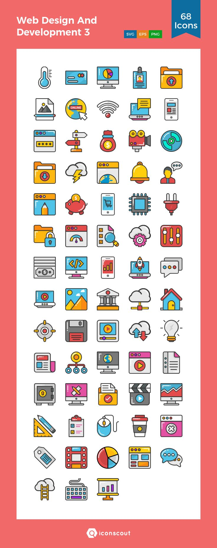 Web Design And Development 3  Icon Pack - 68 Filled Outline Icons