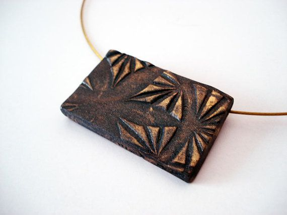 Sui ooak polymer clay pendant in metallic antiqued by Joogr, €15.80
