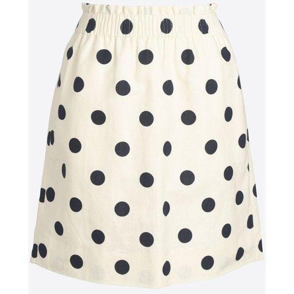 J.Crew Printed linen-cotton sidewalk mini skirt ($35) ❤ liked on Polyvore featuring skirts, mini skirts, long cotton skirts, white linen skirt, linen skirts, j crew skirts and white mini skirt