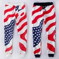 Wish | High Quality Unisex Men Women American Flag Sweatpants Sports Running Cotton USA Flag emoji Joggers Outfit 03-009