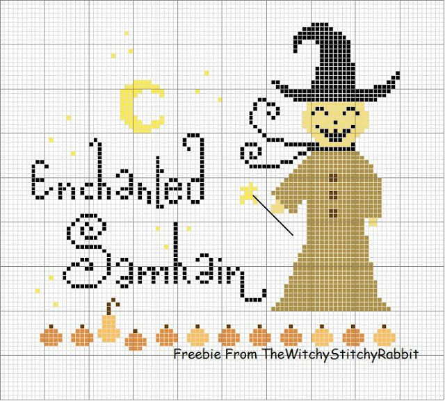Cross stitch Halloween freebie from TheWitchyStitchyRabbit  TheDustyRabbit