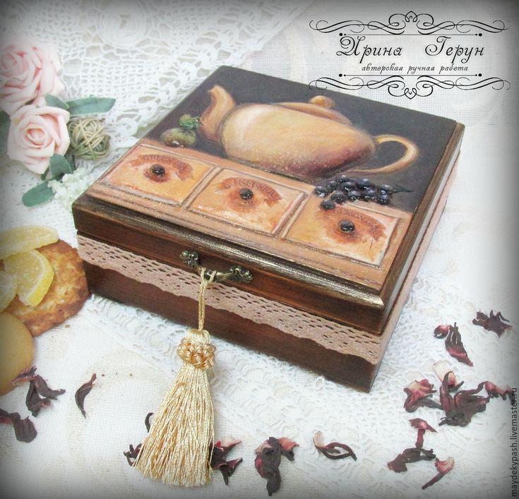 Купить Шкатулка для чая и сладостей - коричневый, шкатулка декупаж, шкатулка ручной работы, шкатулка для чая