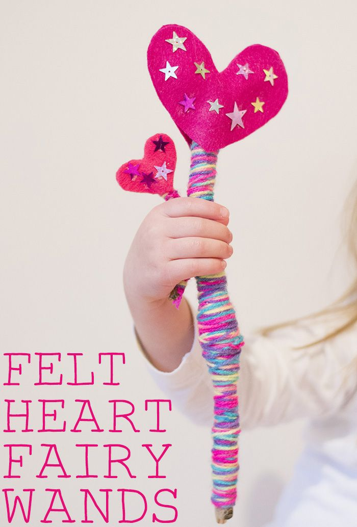 Felt Heart Fairy Wands - These fairy wands are made with sticks so a great way of crafting with nature.