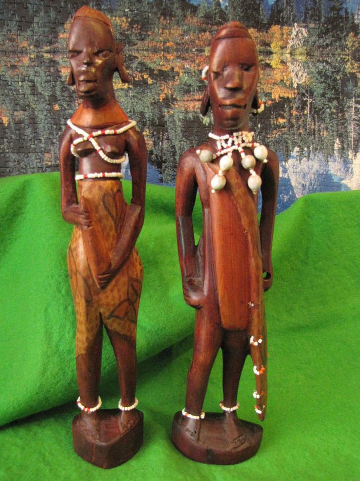 Antique African tribes Wood Warrior figurine Statue Red Handmade carved Africa #AfricanFolk