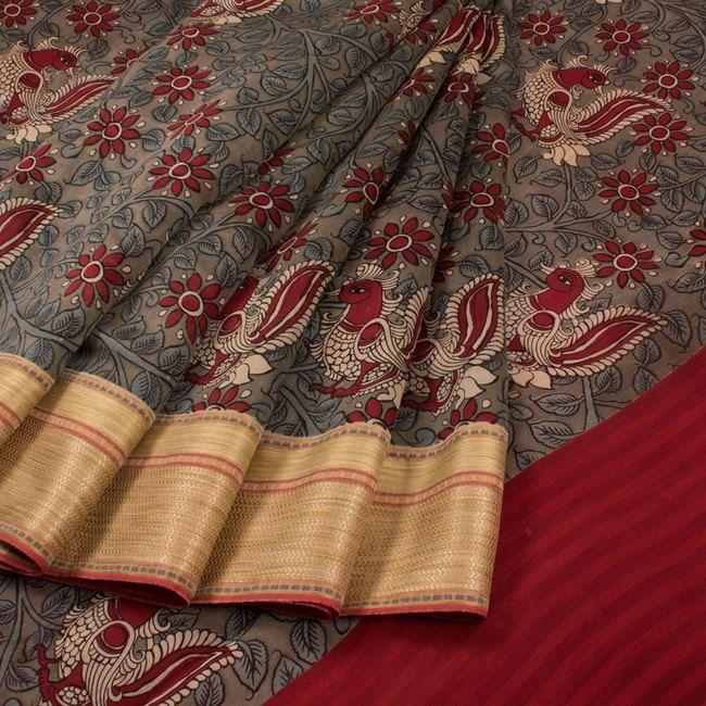 Hand Painted Pen Kalamkari Chanderi Silk Cotton Saree With Floral & Peacock Motifs 10020312 - AVISHYA.COM