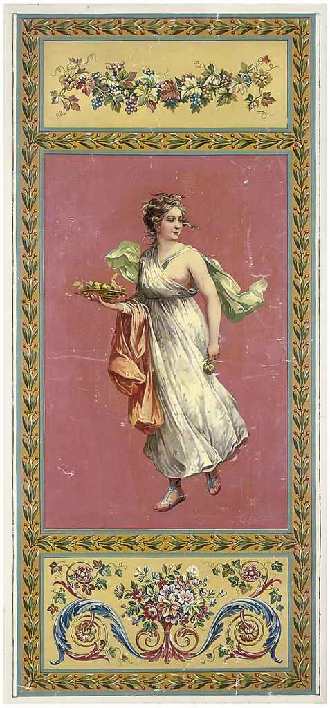 Three Aubusson designs for neo-classical wall hangings of classical muses with flowers and grapes within floral borders (one illustrated)