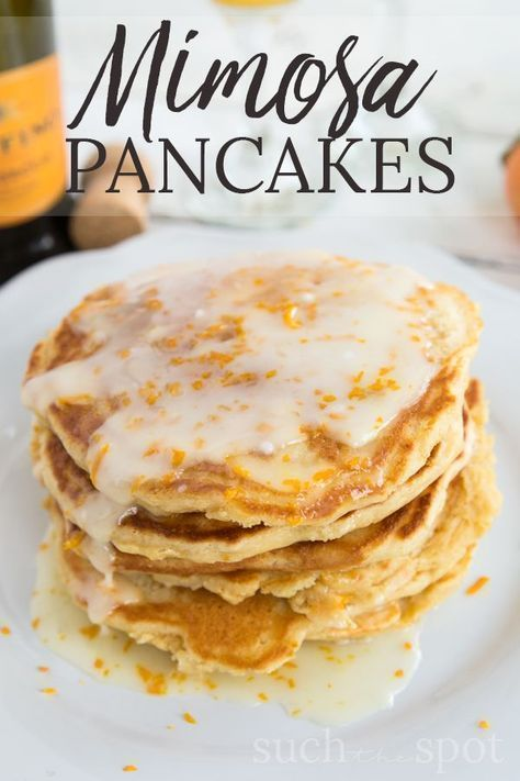 Yes, you read that right. This Mimosa Pancakes recipe is the ultimate, easy brunch treat. The champagne flavor is subtle but present in these super fluffy buttermilk pancakes. #brunch #pancakes #mimosa #recipe #breakfast #fluffybuttermilkpancakesrecipe #buttermilkpancakesrecipeeasy #buttermilkpancakesrecipebrunch #buttermilkpancakesrecipetreats