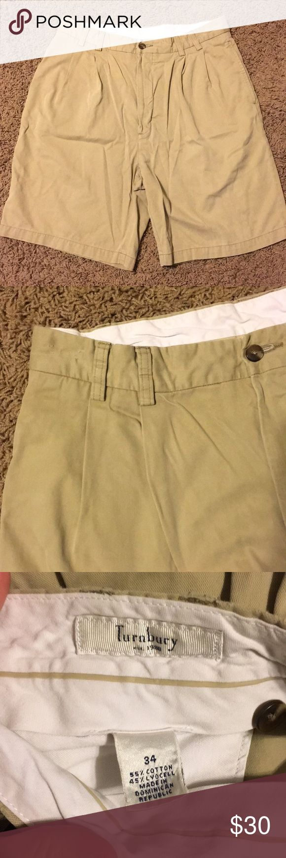 Men's khaki shorts Men's khaki shorts by Turnbury. Perfect condition other than some snags in the waist band indicated in the photos. Very soft. Has two pleats on each front leg. Turnbury Shorts Flat Front