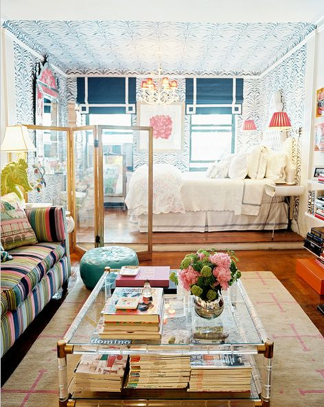 Nyc bachelorette studio apartment.  @Madeline Weinrib Sugar carpet