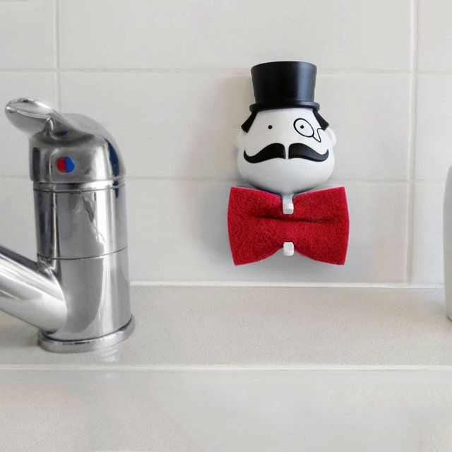 You didn't know your kitchen wet sponge could look so fashionable until you see this Mr. Sponge Holder.