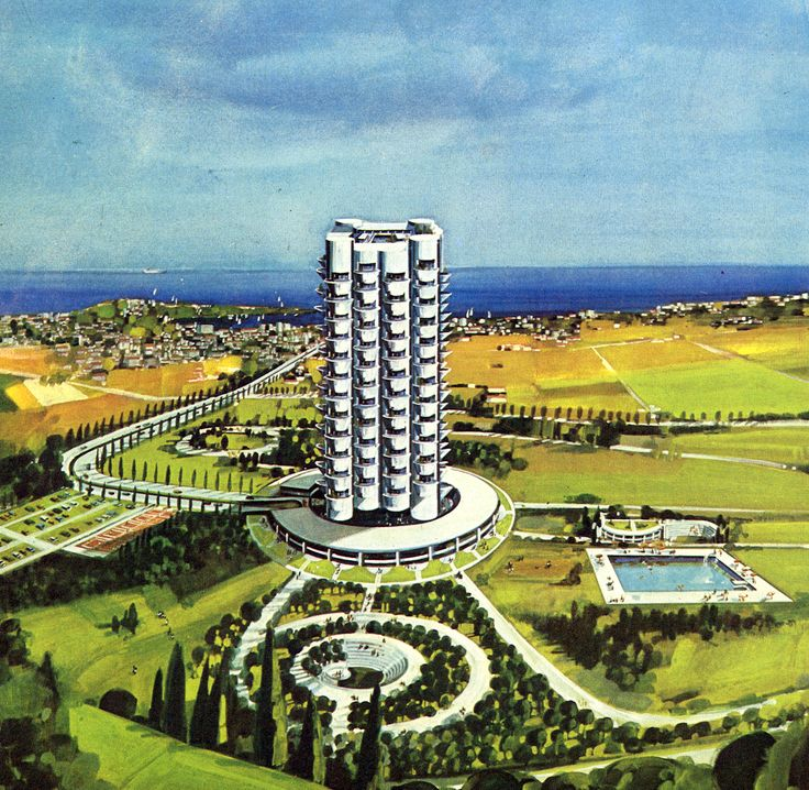 """STUDY OF APARTMENT TOWER """"SKY GARDEN"""" IN GLYFADA, ATHENS, 1972 (COLLABORATION WITH ANDRAULHT-PARRAT)."""
