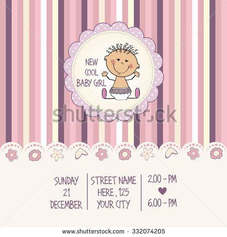 baby girl shower card, vector eps10 - stock vector