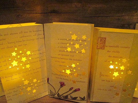 5 Poetry Luminary Bags, Luminaries, Rustic Wedding, Poetry ...