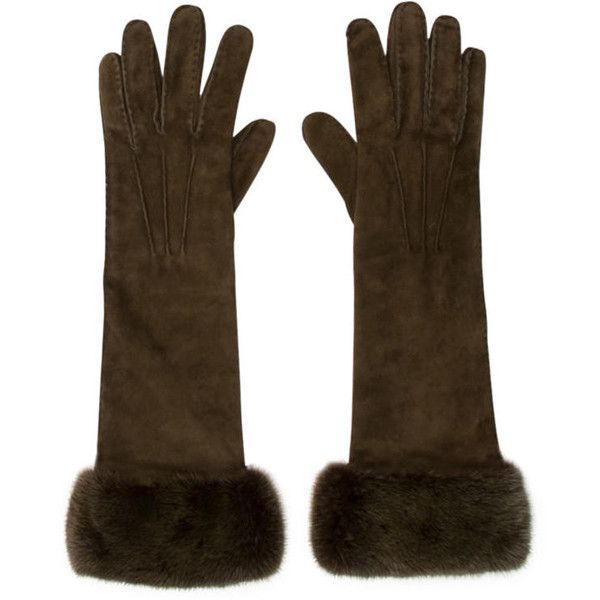 Pre-owned Loro Piana Suede Mink Trimmed Gloves ($295) ❤ liked on Polyvore featuring accessories, gloves, green, loro piana, suede gloves and green gloves