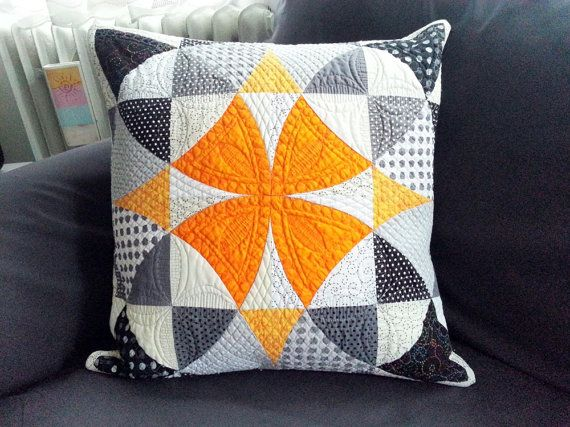 Modern quilted pillow - decorative pillow - contemporary pillow - quilted pillow cover - bold pillow - patchwork pillow