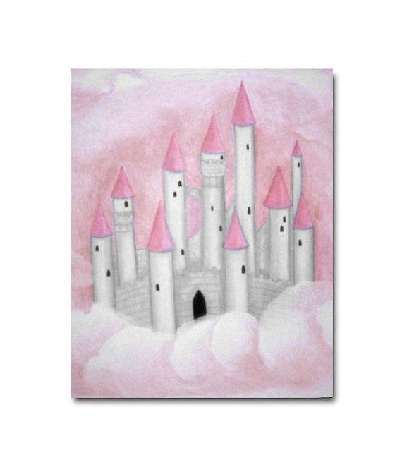 Pink Castle Wall Art Cinderella Fairy Tale Princess Girls
