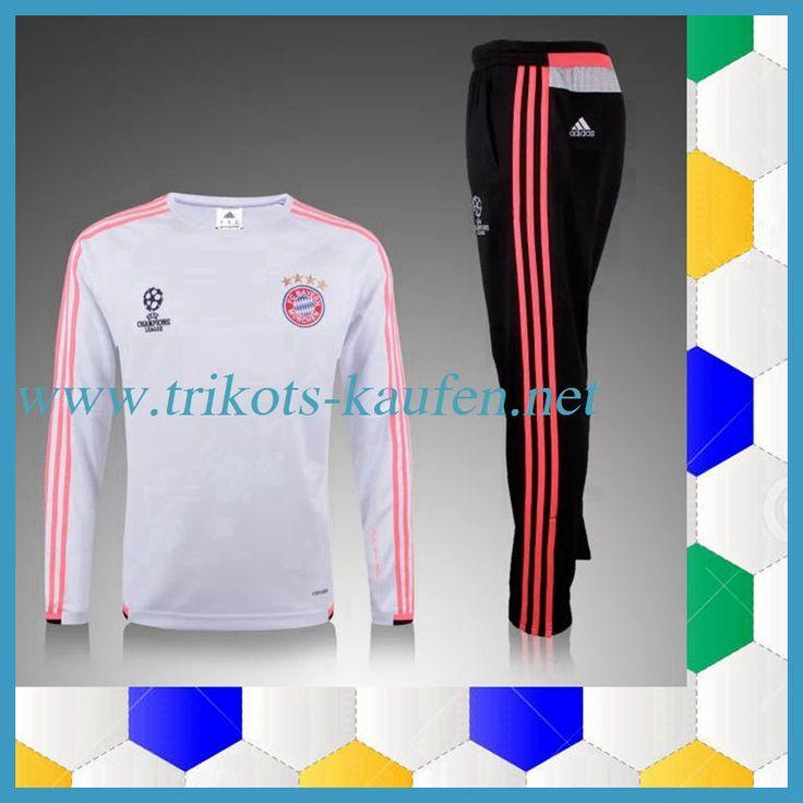 Neu Champions league Bayern München Trainingsanzug Weiß 2015 2016 Beflockung