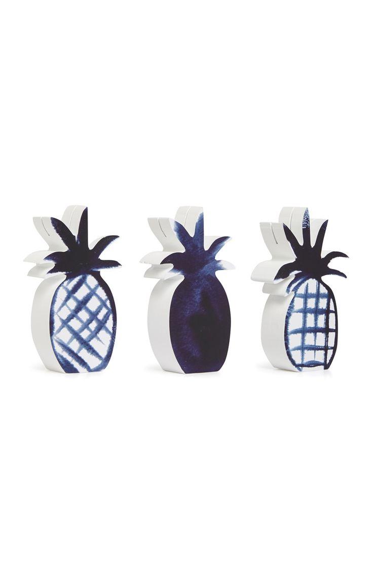 Blauw-witte fotohouders in ananasvorm