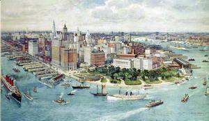 A Birds Eye View of Lower Manhattan, 1911  Richard Rummell