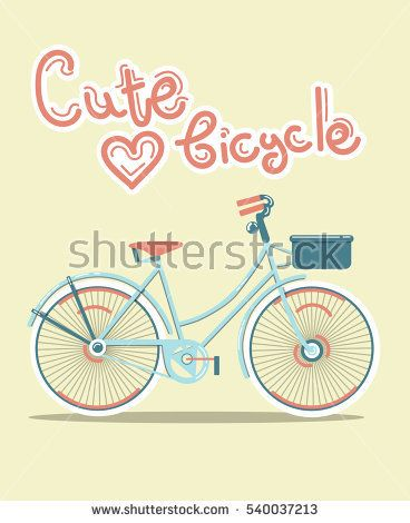 Vector flat cute blue  bicycle illustration on background