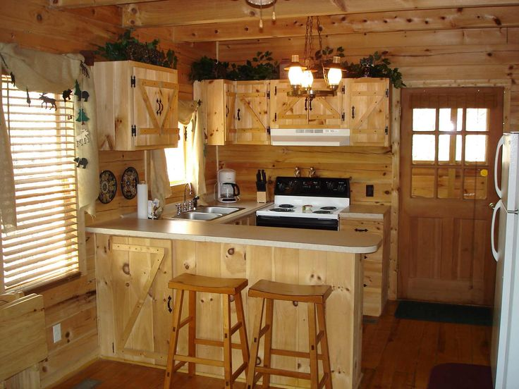 Cottage Rustic Kitchen Design Ideas For Small Spaces With Vintage Pendant Lights And U Shaped Solid Knotty Pine Wood Kitchen Cabinets Using White Solid Slab