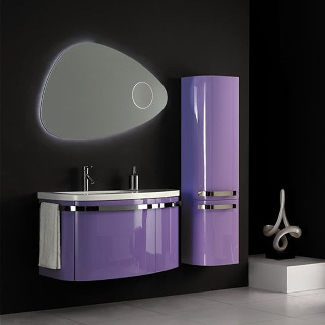 Source Qierao 85cm Popular Pvc Curved Bathroom Vanity Cabinets With Led Mirror P007a On M Alibaba Com Banyo
