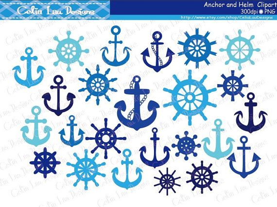 Anchor Clipart Helm Clipart Nautical Clip Art by CeliaLauDesigns