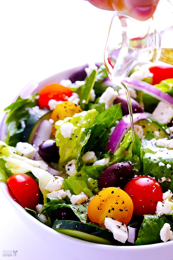 Greek Salad with Garlic Lemon Vinaigrette