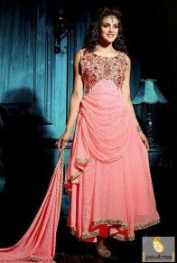 Light Pink Festive Designer Anarkali Salwar Suit