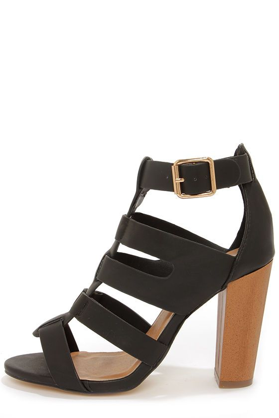 black caged sandal with wood block heel