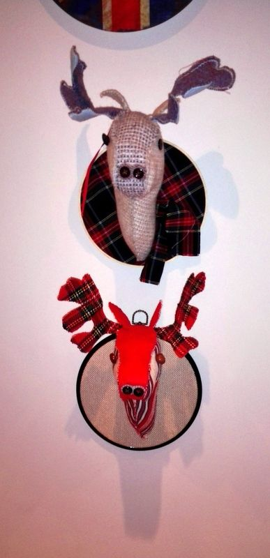 wool hand sewn reindeer heads