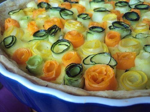 Пирог из кабачков в духовке «Цветочная поляна»