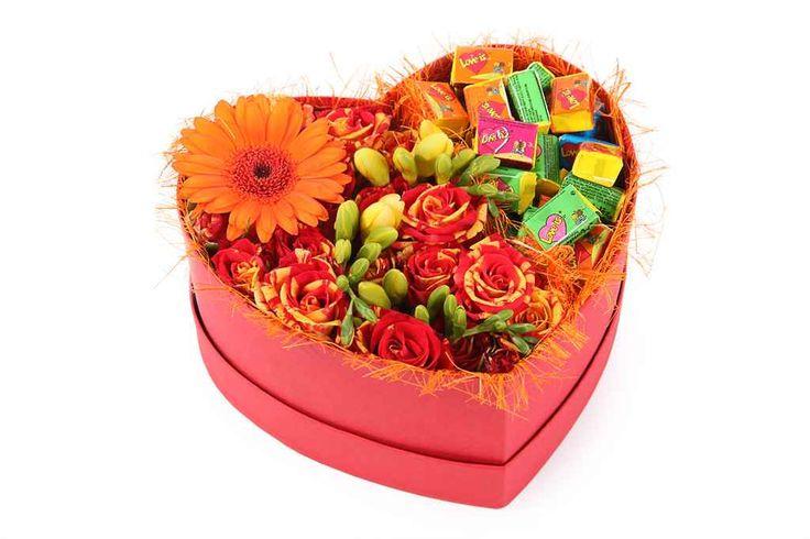 прекрасный Букет Жаркое сердце августа в коробке  #Букеты #Оригинальныебукеты,БукетЖаркоесердцеавгуставкоробке