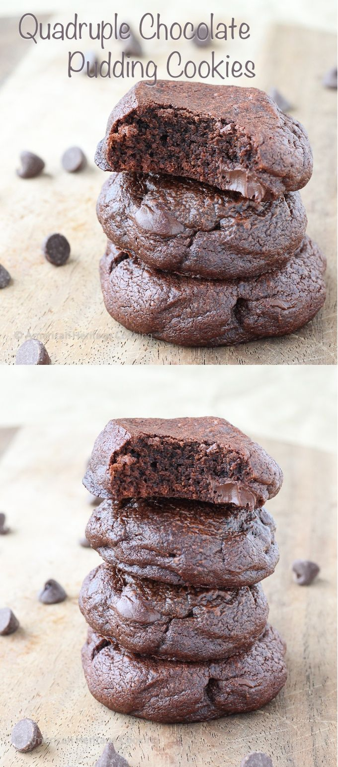 Quadruple Chocolate Pudding Cookies Recipe | A chocoholics dream!! Chocolate pudding mix, melted chocolate, cocoa powder AND chocolate chips!!! Easy recipe made from scratch!