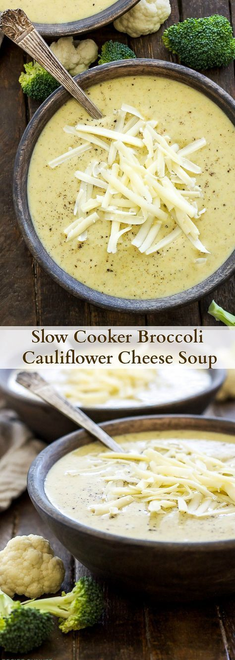 Slow Cooker Broccoli Cauliflower Cheese Soup | Loaded with broccoli, cauliflower and extra sharp cheddar cheese, this healthy slow cooker soup couldn't be easier to make! {Gluten free, vegetarian}