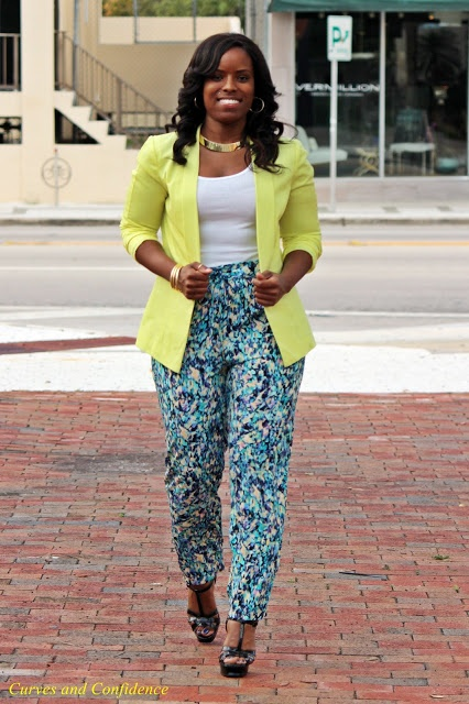 Curves and Confidence   Inspiring Curvy Fashionistas One Outfit At A Time: Neon & Water Colors