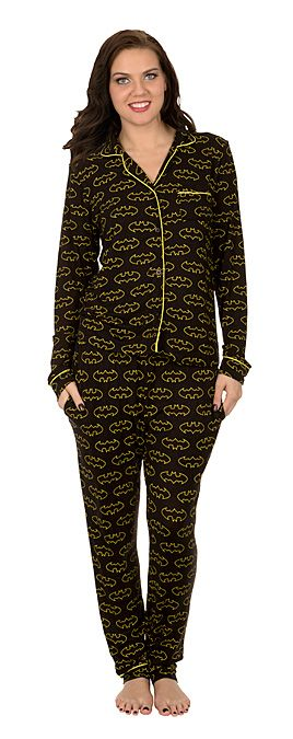 Be comfy and in your element at night with this Batman 2-piece sleep set. It's a traditional-style pajama set, the sort your grandfather wore, only your grandfather's weren't rayon and spandex blend.