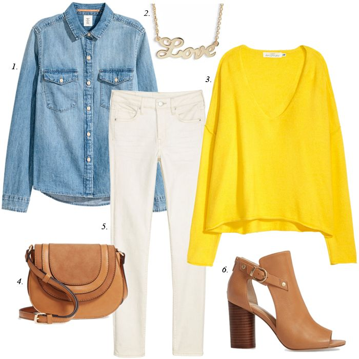 spring outfit, denim shirt, yellow sweater, women, fashion, white jeans, spring trends, casual outfit, sole society, top blogger
